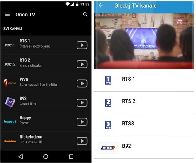 Orion TV i Globaltel lista kanala