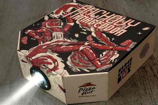 Pizza hut kutija koja se pretvara u projektor