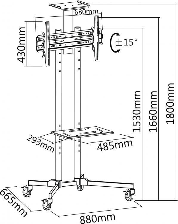 podni stalak za tv sa policom za laptop i kameru dimenzije